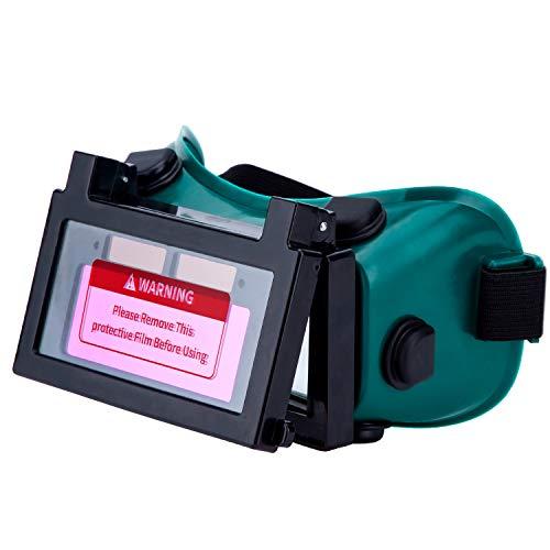 LESOLEIL Elektrische Schweißerbrille Helm - Li-Mi&Solar betriebene automatische Schweißerbrille DIN9-13 2 Sensoren Automatische Verdunkelung Schleifbrillen-Schutzmaske mit Gasflip