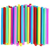 NINU 100-Pack Plastic Boba Straws, Extra Wide Jumbo Disposable Bubble Tea Straws for Smoothie, 1/2' Wide X 8 1/2' Long