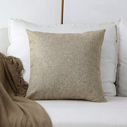 Home Brilliant Lined Linen Burlap Square Throw Pillow Covers Decorative Pillowcase Cushion Cover for Couch, 18 x 18 inch, 45cm, Natural Linen