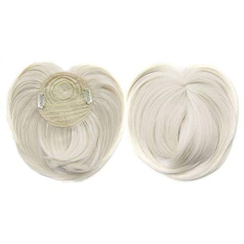 Silky Clip-On Hair Topper Perücke, Clip-On Hair Topper, Silky Base Clip in Human Hair Topper, hitzebeständige Faser-Haarverlängerung für Frauen (60)