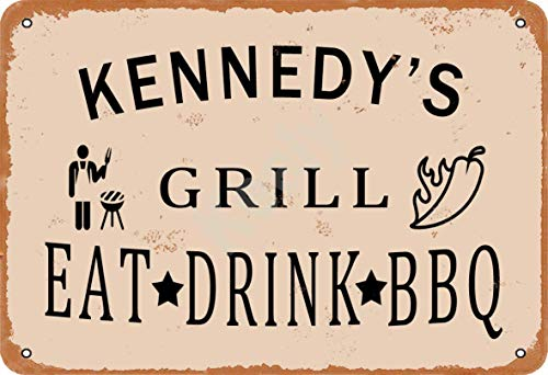 Kennedy'S Grill Eat Drink BBQ Metall Vintage Blechschild Wanddekoration 12x8 Zoll für Café, Bar, Restaurant, Pubs, Männerhöhle, Dekorativ
