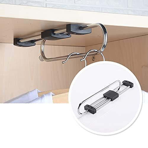 FKDEKUZI Closet Clothing Hanger Rail 28-53cm,Metal Stretchable Clothes Bar for Closet,3 Base Clothes Rail (Size : 480mm)