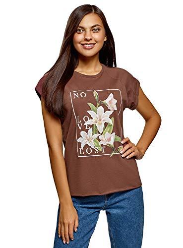 oodji Ultra Damen Baumwoll-T-Shirt mit Druck und Unbearbeitetem Saum, Braun, DE 38 / EU 40 / M
