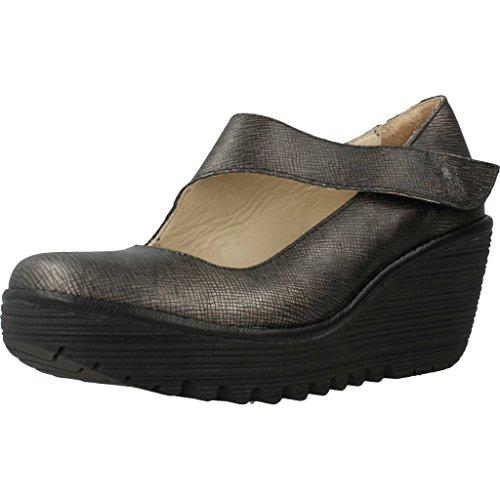 Fly London P500682020, Zapatos de Cuña Mary Jane Mujer, Plateado (Anthracitesilver/Black), 41 EU (talla del fabricante: 8 UK)