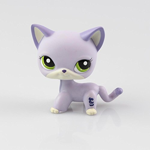 SmileFly Littlest Pet Toys Shorthair Kitten Cat LPS Rare Standing Cat Mask Short Hair for Kids Gift (Purple, Green Eyes, White Ears) 1pc