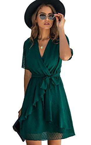 Spec4Y Damen Kleider V-Ausschnitt Vintage Langarm Rüschen Punkte Sommerkleid Knielang Swing Strandkleid Sommer 3023 Grün Small