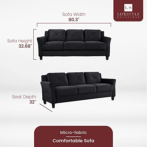 """LifeStyle Solutions Collection Grayson Micro-Fabric Sofas, 80.3""""x32""""x32.68"""", Black"""