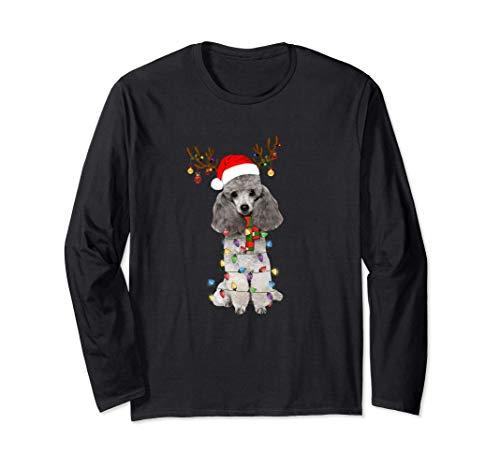 Poodle Christmas Tee Reindeer Christmas Lights Pajama Gift Long Sleeve T-Shirt