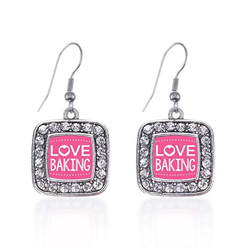 Inspired Silver - I Love Baking Charm Earrings for Women - Silver Square Charm French Hook Drop Earrings with Cubic Zirconia Jewelry