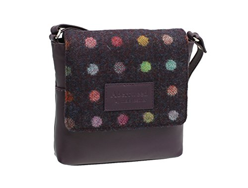 Mala Leather ABERTWEED Collection Compact Leather and Tweed Shoulder Bag 7106_40 Plum Spot