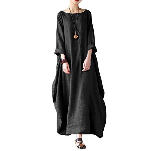 Carolilly Robe Maxi Longue Femme Grande Taille Ample Style Boho Manches 3/4, Noir, Large