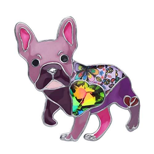 NEWEI Enamel Cute Dog Brooch Pins for Women Girls Hat Jacket Decoration (Purple French Bulldog)