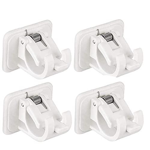 Varilla de soporte de barra de la cortina soporte de pared estante de toalla Clip de fijación adhesiva barra colgante sostenedor del gancho-Clavo libre ajustable para el hogar 4PCS de baño