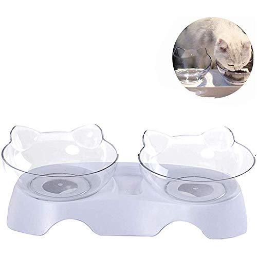 Anti-braken Orthopedische huisdiercontainer, Dubbele kattenvoercontainer, Verhoogde huisdiercontainer met voedsel- en watercontainers (met waterdispenser),Clear,M