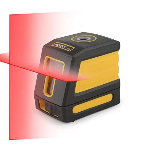 Kreuzlinienlaser Nivellierlaser Laser Wasserwaage Selbstnivellierend MESTEK 30M mit Magnetische Stativ Halterung Drehbar Batterien Tragetasche Rotation für Wandhausdecken Staub- Wasserdicht
