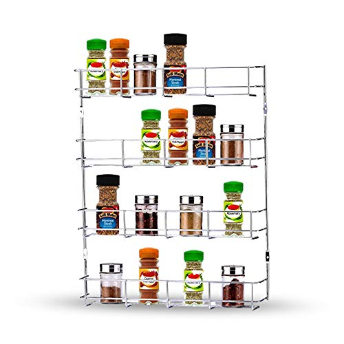 Spice Rack Organiser Wall Mounted Chrome Plated Shelf Storage for Kitchen Cupboard - Door Hanging Metal Rack for Spices and Herb (4 Tier)