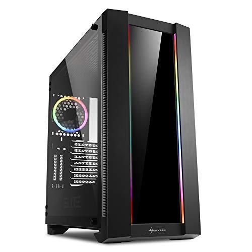 Sharkoon Elite Shark CA200G, PC-Gehäuse, ARGB, 8-Fach RGB-Steuerung, klassischer und vertikaler Grafikkarteneinbau