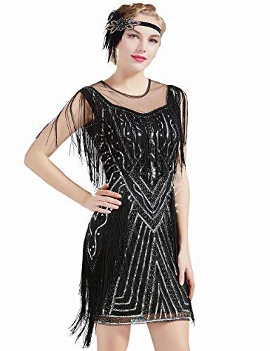Coucoland 1920s Kleid mit Troddel Stola Damen Gatsby Abendkleid Cocktail Party Damen 20er Jahre Kostüm Kleid (Schwarz Silber, S)