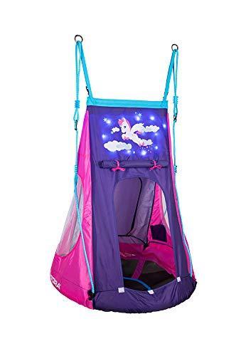 HUDORA 72149 72151 Nestschaukel Cosmos 90 Nestchaukel mit Zelt und LED Beleuchtung, blau/schwarz