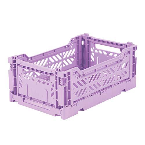AY-KASA lila, Faltbare Aufbewahrungsbox mit 26,6x17,1x10,5 cm und 4 Liter Volumen - Bunte Klappbox zum Einkaufen und Aufbewahren - Stabile Faltbox aus Plastik - Organizer Box