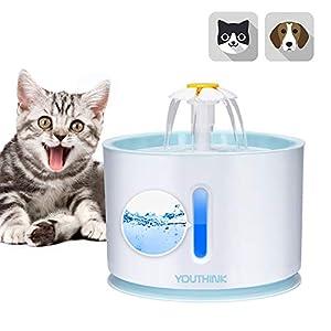 YOUTHINK Bebedero Gatos, 2.4L Fuente de Agua del Gato Ultra silenciosa, automática y Saludable con Nivel de Agua LED con 1 Filtro de Fuente para Gato y Perro 11