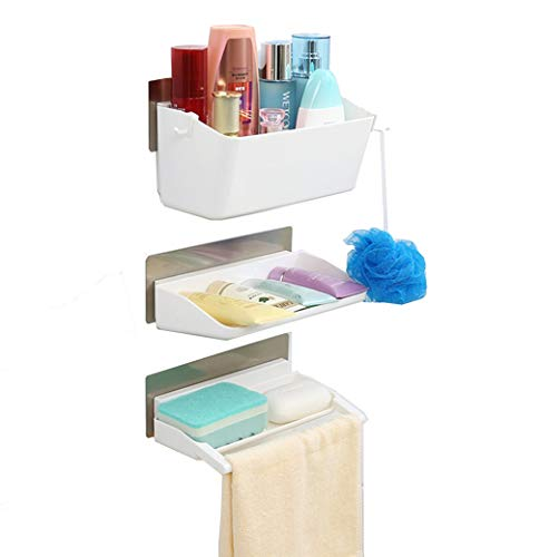 Organizador de baño CathayBest de 3 hileras, contenedor para ducha, estante de ducha con almohadillas adhesivas y toallero (color blanco)