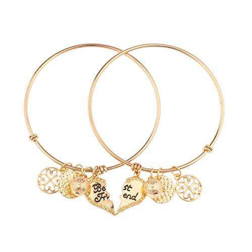 Lux Accessories Best Friends Forever BFF Charm Bracelet Set (2pc)