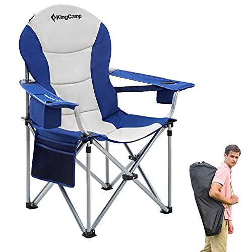 KingCamp Silla de Camping Resistente con Soporte Lumbar para Respaldo Plegable y Asiento de Lujo con Bolsa térmica y Soporte para reposabrazos