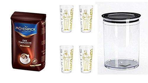 Mövenpick Der Himmlische Bohnen 500g + Vorratsbehälter Aromafresh Kaffee 1 Liter Volumen + 4 Latte Gläser