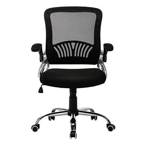 JL Comfurni Mesh Chair Ergonomic Mesh Office Chair Adjustable Medium Back Desk Chair 360°Swivel Computer Chair Height Adjustment with Mesh Seat Black