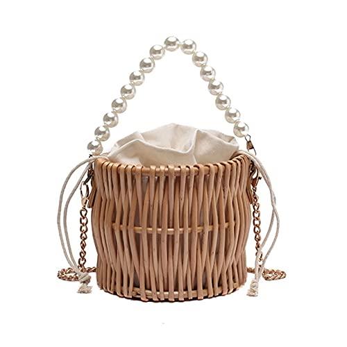Boîte de Rangement Rotin Sacs à bandoulière de Paille de la chaîne de Perles Sumes de Paille pour Femmes Rattan Weave Voyage Beach Sac de Godet Femme Mode Femme Handbags