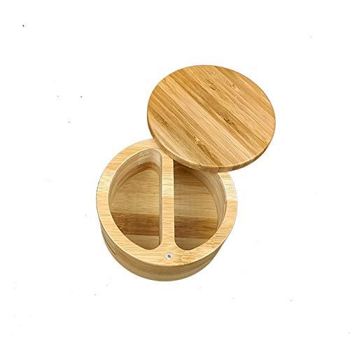 Honyan Tarro de madera para especias, azucarero, caja de almacenamiento de especias, salero, pimentero, sal, tarro de bambú con tapa giratoria para almacenamiento de cocina