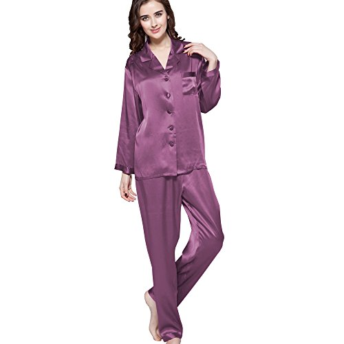 LilySilk Lavender Silk Pajamas Ladies Full Length Long 22 Momme 100% Mulberry Silk Violet Size 12/L