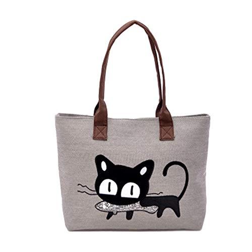 MINGZE Bolso, Nuevo Moda Mujer Bolsa de hombro Lindo bolso de gato Bolsa de lona Oficina Bolsa del almuerzo (Gris claro)