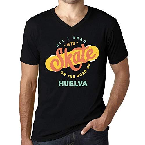 Hombre Camiseta Vintage Cuello V T-Shirt Gráfico On The Road of Huelva Negro Profundo