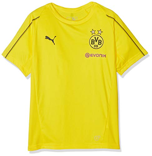 PUMA Kinder BVB Training Jersey Jr with Sponsor Logo T-Shirt, Cyber Yellow, 152