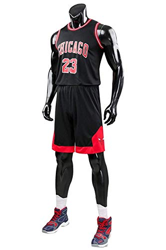 Yueyue Herren Michael Jordan # 23 Chicago Bulls Retro Basketball Shorts Sommer Trikots Basketballunifor (Schwarz, XXXL(Hauteur:175-180cm))