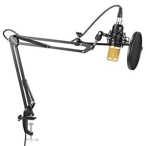 Neewer Micrófono Condensador Estudio Profesional NW-8000 y Brazo Tijera Suspensión Ajustable con Montura Choque,Filtro Kit Abrazadera Montaje Mesa para Difusión y Grabación Sonido