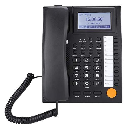 Socobeta Teléfono con Cable Juego de extensión de Dos Puertos Teléfono con Cable con Altavoz Pantalla LCD(Negro)