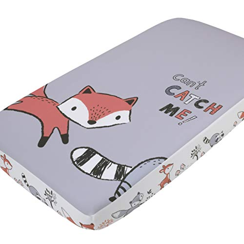 "Little Love By Nojo Lil Fox, Grey, Orange, White ""Cant Catch Me!"" Photo Op Fitted Crib Sheet, Orange, Grey, White, Charcoal"