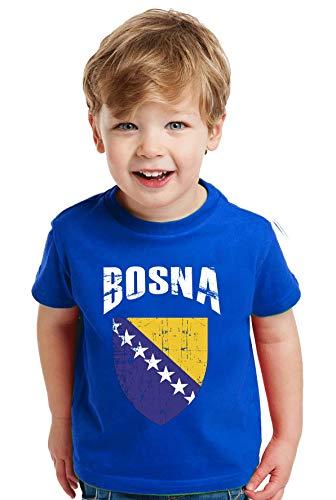 aprom - Bosnien Kinder Baby T-Shirt Trikot Royal - WM EM Fußball D01 (104)