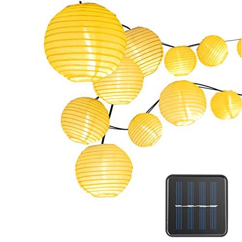 iMeshbean Solar Lichterkette Außen Lampions,30 LEDs Solarbetriebene Lichterkette Lampions Laterne 6.5M Wasserfest Gartenlicht Outdoor Solarlicht Kettenlicht Farbige Solarbeleuchtung (Warmweiß, 30 LED)
