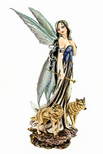 Vogler 770-4026 Fee des Waldes mit Wölfen 27 cm Figur Fantasy Fairy Elfe