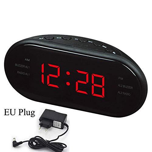 FPRW Digitale LED-wekkerradio AM/FM met dubbel alarm, Sleep & Snooze, nachthorloge met grote cijfers, rood