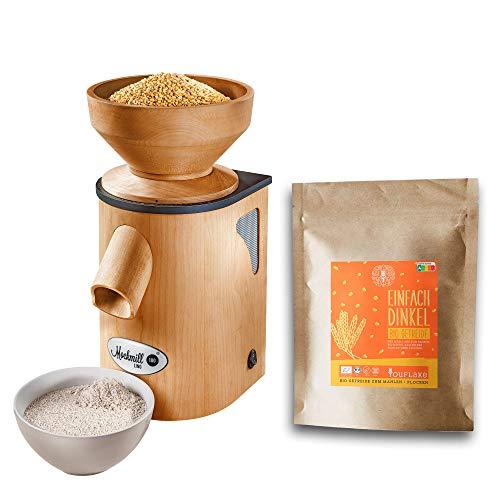 Getreidemühle Mockmill Lino 200 | Made in Germany | Edelkorund und Keramik Mahlstein | frisches Mehl | (Lino 200 + 2,5 kg Bio Dinkel)