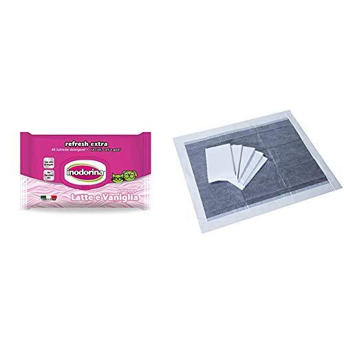 Inodorina Salviette Detergenti Latte/Vaniglia & Amazon Basics Tappetini igienici con carbone attivo per l'addestramento di cagnolini e altri animali domestici, misura extra-large, 50 pezzi