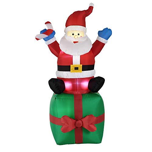 [en.casa] Babbo Natale Gonfiabile Che Si siede su Un Regalo 180 cm Nylon con Illuminazione LED