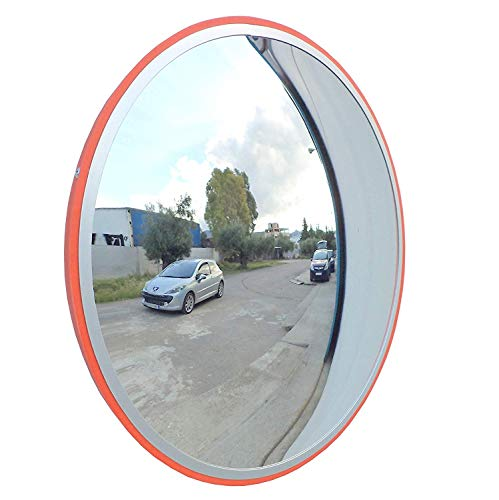 SNS SAFETY LTD Specchio Convesso di Sicurezza da Traffico, Elimina Angoli Ciechi Interni ed Esterni, per Strade, Magazzini, Garage e Negozi. (Diametro 45 cm, Staffa di Fissaggio Parete)