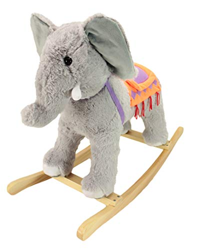 Animal Adventure | Real Wood Ride-On Plush Rocker | Gray Elephant | Perfect for Ages 3+