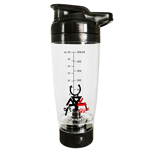 art of gym - Portable Electric Vortex Protein Shaker Mixer Bottle 20 oz. / 600 ml. Battery Operated, 100% BPA Free.